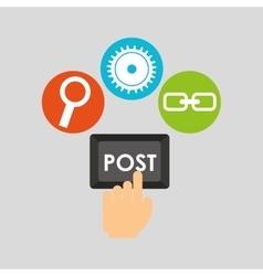 post technology social media concept vector image