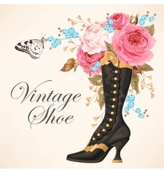 Vintage shoe with roses vector image