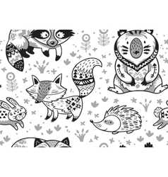 Woodland animals seamless pattern in monochrome vector