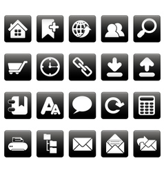 White web site icons on black squares vector image