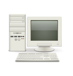 Old computer isolated on white vector