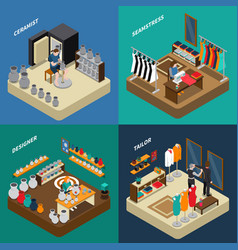 Craftsman isometric compositions vector