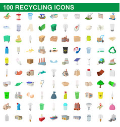 100 recycling set cartoon style vector image