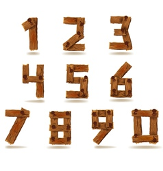 Wooden numbers vector