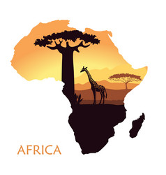 map of africa with the landscape of sunset in the vector image