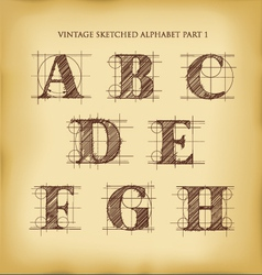 Vintage sketched alphabet set 1 vector