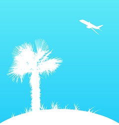 Summer background with palm tree and airplane vector