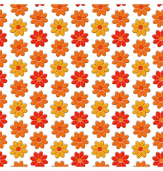 Seamless pattern with yellow and red camomiles vector