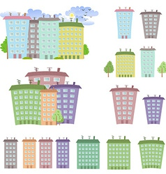 Collection of cartoon buildings vector