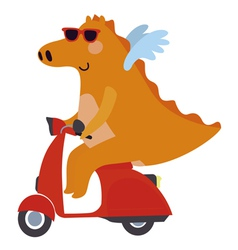 Dragon on a motor scooter vector