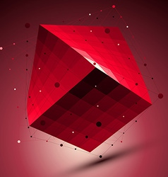 Spatial red squared technological shape ruby vector