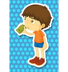 Little boy holding some money vector image