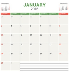 Calendar planner 2016 flat design template january vector