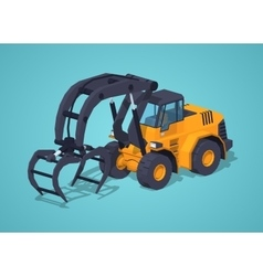 Low poly yellow log loader vector