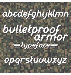 Bulletproof armor typeface vector