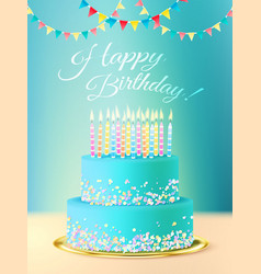Happy birthday message with realistic cake vector