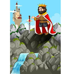 King and sword in the stone vector image