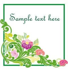 Colorful floral frame isolated on white background vector image