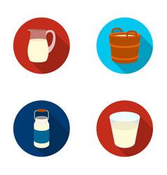 a can a glass a jug a tub moloko set vector image vector image