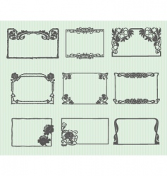 Art nouveau horizontal frame set vector
