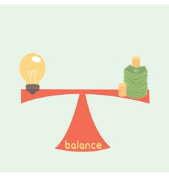balance between idea and money idea is money conc vector image