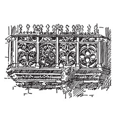 Balustrade flamboyant french gothic vintage vector