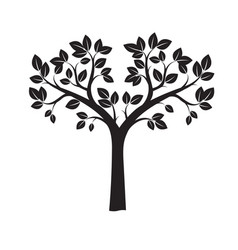black tree and leafs vector image vector image