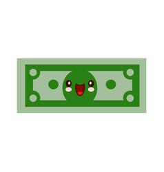 cartoon money character smiling kawaii face self vector image
