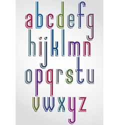Colorful animated font comic slim lower case vector