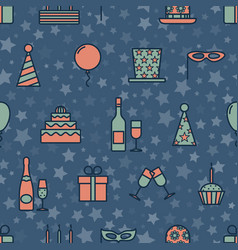 colorful vintage party icons seamless texture with vector image vector image