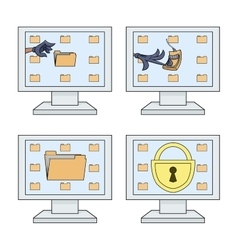 Computer security icons set vector image