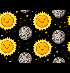 Cute sun and moon character seamless pattern vector