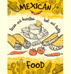 design template of poster with mexican food vector image vector image