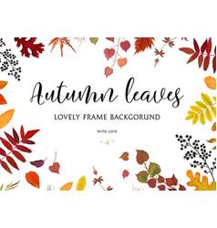 Floral watercolor style card design autumn border vector