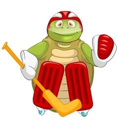 Funny Turtle Hockey Goalie vector image vector image