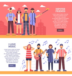 Hipster horizontal banners vector