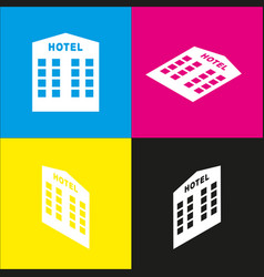 Hotel sign white icon with isometric vector