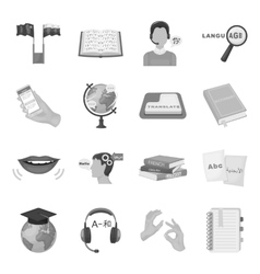 Interpreter and translator set icons in monochrome vector