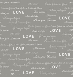 Love letters seamless gray pattern vector