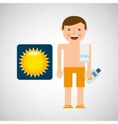 man shorts towel beach vacations sun vector image