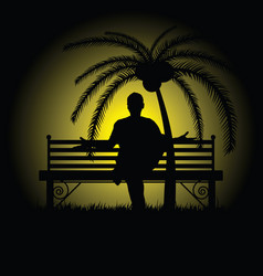 man silhouette sitting and posing on bench vector image vector image
