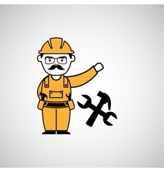man worker construction hammer and wrench design vector image