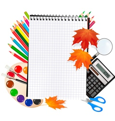 notepad with school supplies vector image vector image