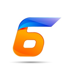 Number six 6 logo orange and blue color with fast vector image vector image