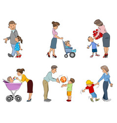 Parents with children vector