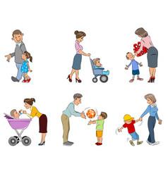parents with children vector image