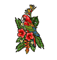 Parrot ara embroidery patch with tropical flowers vector
