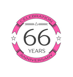 Realistic sixty six years anniversary celebration vector