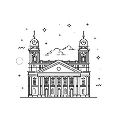 Reformed great church of debrecen hungary vector