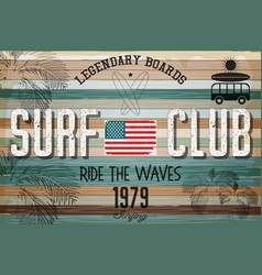 retro grunge surfing poster vector image